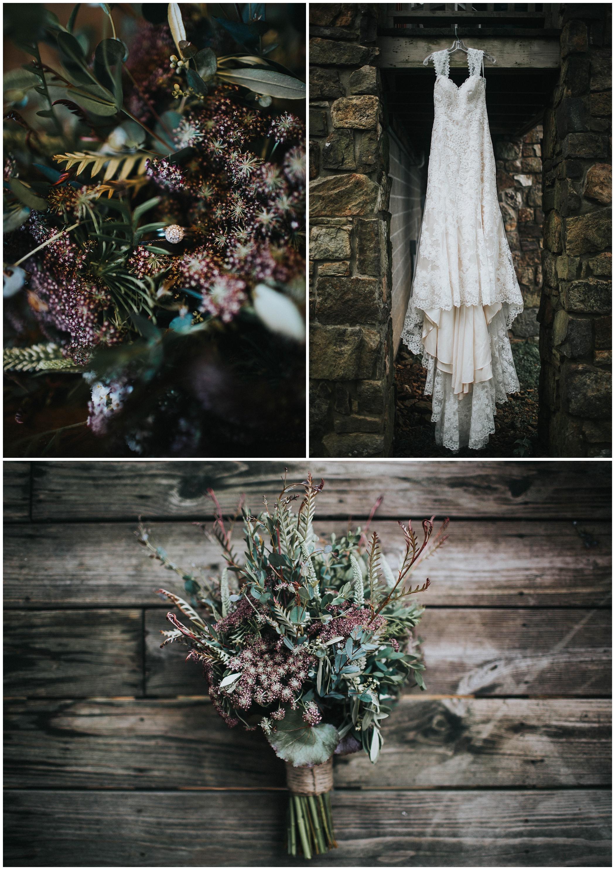 The Johnsons Photo Foggy Mount Magazine Arkansas Wedding Dress and Bouquet