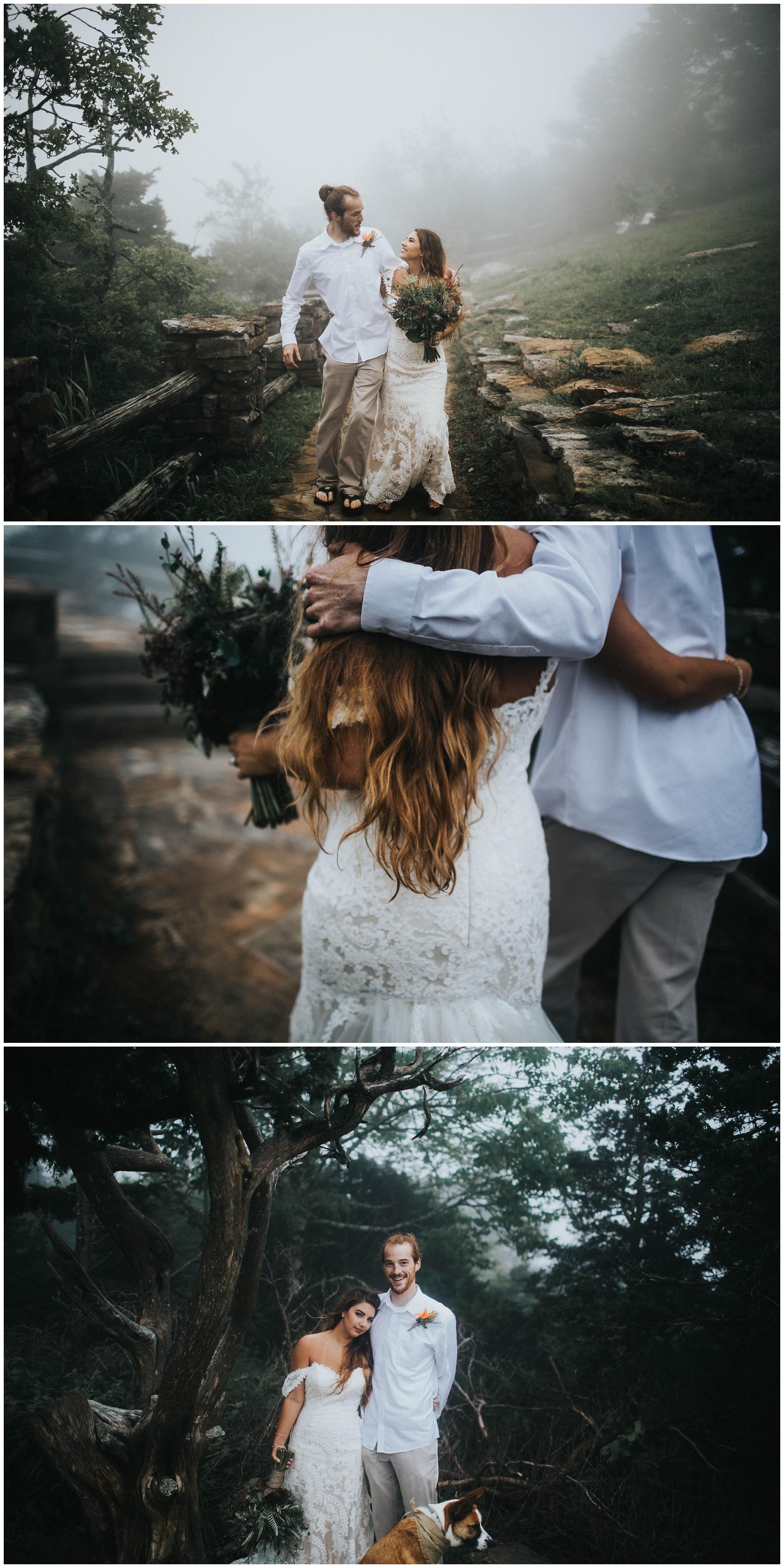 The Johnsons Photo Foggy Mount Magazine Arkansas Wedding Moody Bride and Groom Portraits