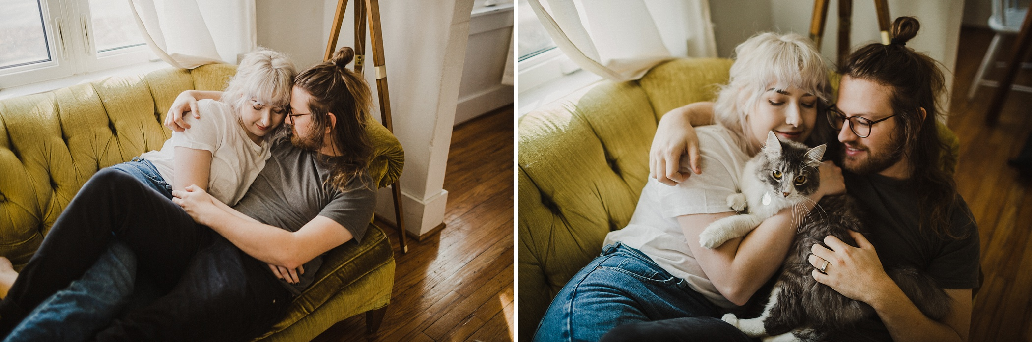 intimate in home session, in home session, mid century home, intimate in home session mid century home, in home session with cat, the johnsons, the johnsons photo. adorable mid century home, mid century home filled with thrifted finds